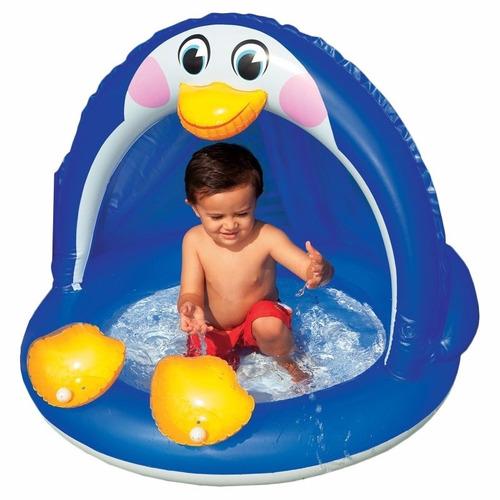 Piscina inflable pinguino con parasol techo para bebe for Piscinas bebes